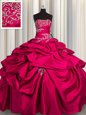 Customized Pick Ups Floor Length Hot Pink Quince Ball Gowns Strapless Sleeveless Lace Up