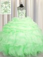 Super See Through Scoop Lace Up Beading and Ruffles and Pick Ups Quinceanera Dress Sleeveless
