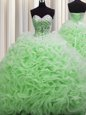 Rolling Flowers Brush Train Sweetheart Lace Up Beading and Pick Ups Sweet 16 Quinceanera Dress Sleeveless