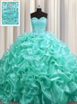 Shining Scoop Gold Tulle Lace Up Quinceanera Dresses Sleeveless Floor Length Beading