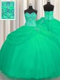 Decent Big Puffy Turquoise Ball Gowns Beading Sweet 16 Dresses Lace Up Tulle Sleeveless Floor Length
