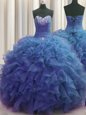 Beaded Bust Organza Sleeveless Floor Length Ball Gown Prom Dress and Beading and Ruffles