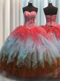 Visible Boning Floor Length Lace Up Quinceanera Dresses Multi-color and In for Military Ball and Sweet 16 and Quinceanera with Beading and Ruffles and Sequins