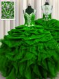 See Through Back Sleeveless Floor Length Beading and Ruffles and Sequins and Pick Ups Zipper Sweet 16 Dress with Green