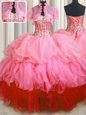 Charming Multi-color Ball Gowns Organza and Tulle Sweetheart Sleeveless Beading and Ruffles Floor Length Lace Up Quince Ball Gowns