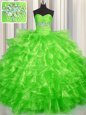 Best Selling Three Piece Visible Boning Multi-color Sleeveless Beading Floor Length Ball Gown Prom Dress