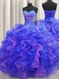 Multi-color Sleeveless Floor Length Beading and Ruffles Lace Up Vestidos de Quinceanera