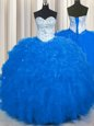 Popular Royal Blue Tulle Lace Up 15 Quinceanera Dress Sleeveless Floor Length Beading and Ruffles