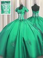 Turquoise Quince Ball Gowns Military Ball and Sweet 16 and Quinceanera and For with Beading and Appliques and Ruching Sweetheart Short Sleeves Lace Up