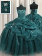 Best Selling Teal Ball Gowns Beading and Appliques and Ruffles Ball Gown Prom Dress Lace Up Organza Sleeveless Floor Length