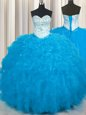 Low Price Baby Blue Sleeveless Tulle Lace Up Quince Ball Gowns for Military Ball and Sweet 16 and Quinceanera