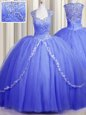 Affordable Zipper Up Cap Sleeves Tulle With Brush Train Zipper Sweet 16 Dresses in Blue for with Beading and Appliques