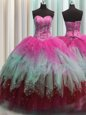 Visible Boning Multi-color Tulle Lace Up Sweet 16 Quinceanera Dress Sleeveless Floor Length Beading and Ruffles and Sequins
