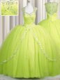 Customized Zipper Up Yellow Green Ball Gowns Tulle Sweetheart Cap Sleeves Beading and Appliques With Train Zipper Quinceanera Dress Brush Train