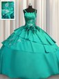 Embroidery Floor Length Turquoise Quinceanera Dress Spaghetti Straps Sleeveless Lace Up