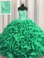 Visible Boning Ball Gowns 15th Birthday Dress Turquoise Sweetheart Organza Sleeveless Floor Length Lace Up