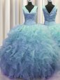 V Neck Zipper Up Sleeveless Floor Length Ruffles Zipper Quinceanera Dress with Baby Blue