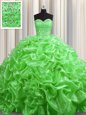 Pick Ups Court Train Ball Gowns Ball Gown Prom Dress Sweetheart Organza Sleeveless With Train Lace Up