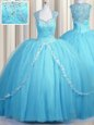 See Through Brush Train Baby Blue Sweetheart Neckline Beading and Appliques Ball Gown Prom Dress Cap Sleeves Zipper