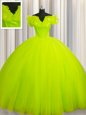 Sumptuous Off The Shoulder Short Sleeves Court Train Lace Up Vestidos de Quinceanera Yellow Green Tulle