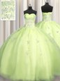 Big Puffy Yellow Green Sweetheart Neckline Beading and Appliques Quince Ball Gowns Sleeveless Zipper