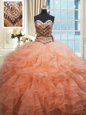Excellent Beaded Bodice Sweetheart Sleeveless Lace Up Quinceanera Dresses Watermelon Red and Peach Organza