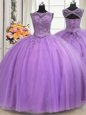 Custom Designed See Through Lavender Ball Gowns Beading and Appliques Sweet 16 Quinceanera Dress Lace Up Tulle Sleeveless Floor Length