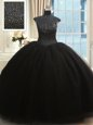 High Neck Floor Length Black Sweet 16 Dresses Tulle Cap Sleeves Beading