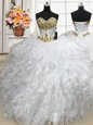 Deluxe White Ball Gowns Beading and Ruffles 15 Quinceanera Dress Lace Up Organza Sleeveless Floor Length