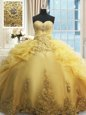 Sweetheart Sleeveless Vestidos de Quinceanera Floor Length Beading and Appliques and Ruffles Gold Organza