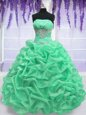 Floor Length Lace Up 15th Birthday Dress Apple Green and In for Military Ball and Sweet 16 and Quinceanera with Beading