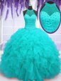 Aqua Blue Organza Lace Up Ball Gown Prom Dress Sleeveless Floor Length Beading and Ruffles