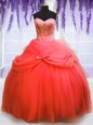 Shining Coral Red Tulle Lace Up Sweetheart Sleeveless Floor Length Quince Ball Gowns Beading and Bowknot
