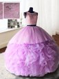 Scoop Sleeveless Lace Up Floor Length Beading Sweet 16 Quinceanera Dress