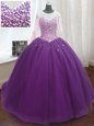 Purple Scoop Lace Up Beading and Sequins Sweet 16 Quinceanera Dress Sweep Train Long Sleeves