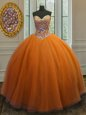 Colorful Orange 15th Birthday Dress Military Ball and Sweet 16 and Quinceanera and For with Beading Sweetheart Sleeveless Lace Up