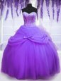 Graceful Lavender Ball Gowns Tulle Sweetheart Sleeveless Beading and Bowknot Floor Length Lace Up Quince Ball Gowns