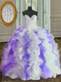Fantastic Floor Length Lace Up Sweet 16 Quinceanera Dress White and Purple and In for Military Ball and Sweet 16 and Quinceanera with Beading and Ruffles