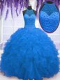 Fine Blue Organza Zipper Ball Gown Prom Dress Sleeveless Floor Length Beading and Ruffles
