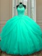Cute Halter Top Sleeveless Beading and Sequins Lace Up 15 Quinceanera Dress