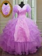 Lilac V-neck Zipper Ruffled Layers Quinceanera Dresses Long Sleeves