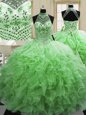 Eye-catching Halter Top Tulle Lace Up Sweet 16 Quinceanera Dress Sleeveless Floor Length Beading and Ruffles