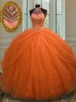 Halter Top Orange Red Tulle Lace Up Ball Gown Prom Dress Sleeveless Floor Length Beading