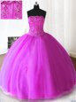 Fuchsia Ball Gowns Beading and Appliques Quince Ball Gowns Lace Up Tulle Sleeveless Floor Length