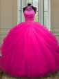 Hot Pink Tulle Lace Up Halter Top Sleeveless Floor Length Sweet 16 Quinceanera Dress Beading and Sequins