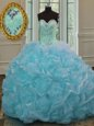 Luxury Blue Ball Gowns Sweetheart Sleeveless Organza Sweep Train Lace Up Beading and Pick Ups 15th Birthday Dress