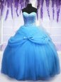 Blue Quince Ball Gowns Military Ball and Sweet 16 and Quinceanera and For with Beading and Bowknot Sweetheart Sleeveless Lace Up