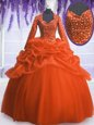 Luxurious Floor Length Orange Red Sweet 16 Dresses Organza Long Sleeves Sequins and Pick Ups