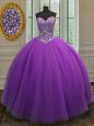 Eggplant Purple Ball Gowns Tulle Sweetheart Sleeveless Beading Floor Length Lace Up 15th Birthday Dress