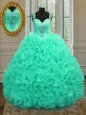 Straps Sleeveless Zipper 15 Quinceanera Dress Apple Green Organza